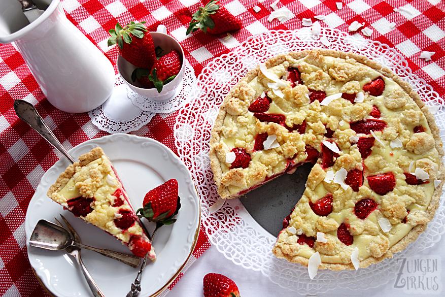 Erdbeertarte mit weißer Schoko