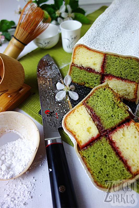 Battenbergkuchen mit Matcha
