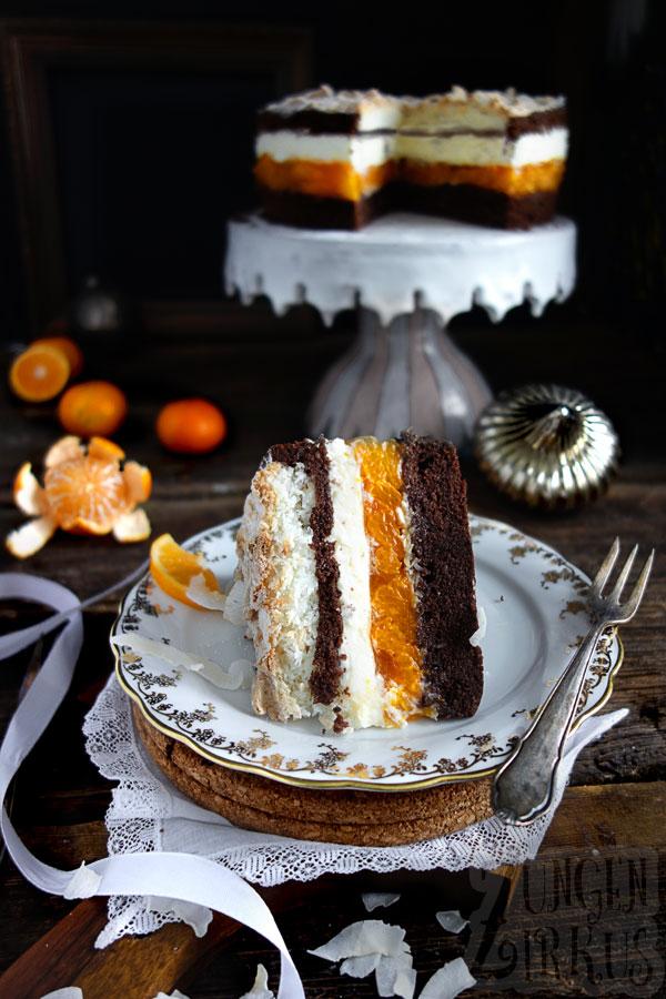 Kokosmakronen-Torte mit Mandarine