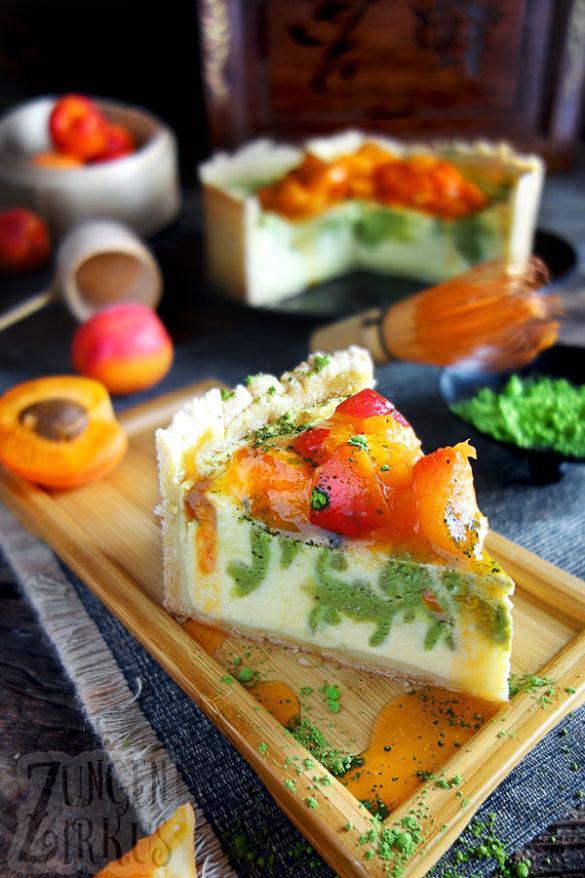 Matchakäsekuchen Käsekuchen mit Matchapulver