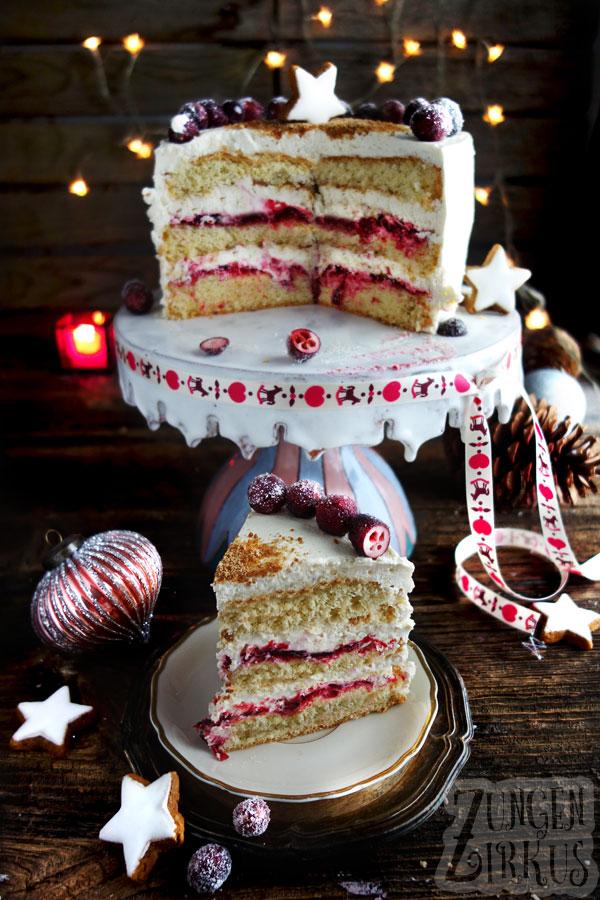 Weihnachtstorte Cranberry-Torte